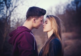 a couple in love about to kiss
